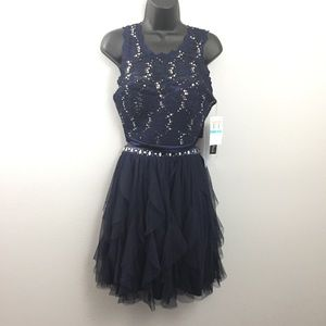 Sequin Hearts Navy Blue Two Piece Homecoming Dress